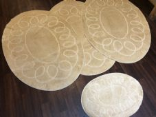 ROMANY WASHABLES OVAL DESIGN SETS OF 4 MATS XLARGE SIZE 100X140CM LIGHT BEIGES